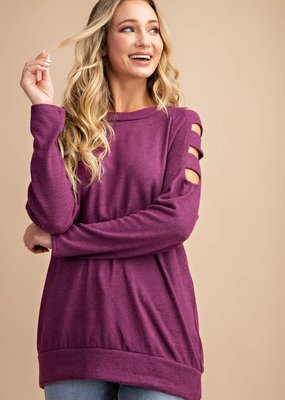EESOME Ladder Sleeve Top - Plum