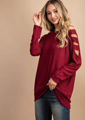 EESOME Ladder Sleeve Top - Ruby