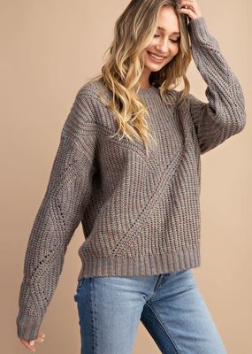 EESOME Grey Knit Pullover Sweater