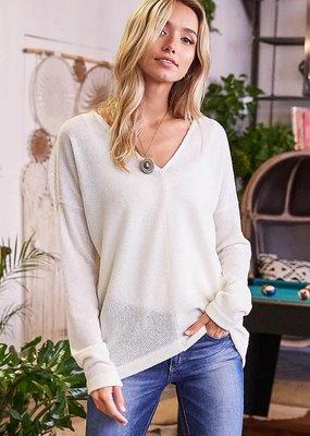 White Birch Ivory V-Neck Knit Sweater