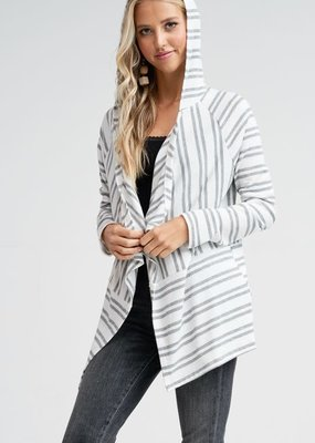 White Birch Ivory Grey Stripe Hooded Cardi