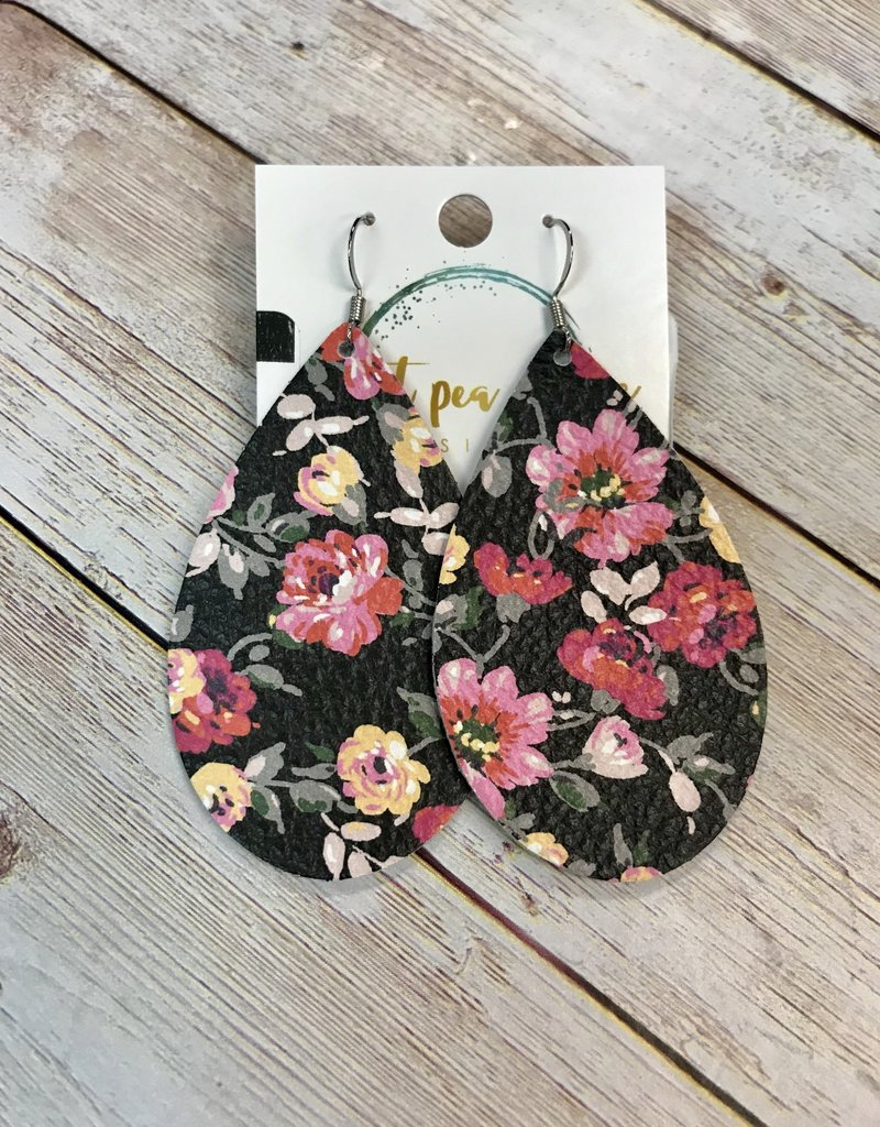 Sweet Pea and Me Designs Floral Leather Earrings
