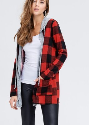White Birch Red Buffalo Open Front Hooded Cardi