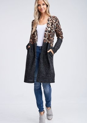 White Birch Cheetah Print Color Block Cardi