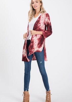 Hemish USA Burgundy Tie Dye Open Kimono