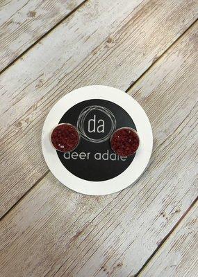 Deer Addie Druzy Studs - Brick & Silver 09