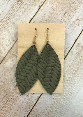 Deer Addie Handmade Leather Earrings - Olive Basketweave