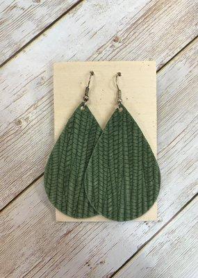 Deer Addie Handmade Leather Teardrop Earrings - Olive