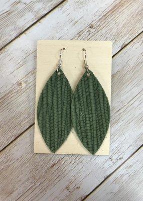 Deer Addie Handmade Leather Earrings - Olive