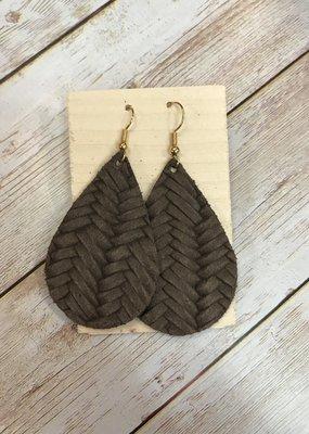 Deer Addie Handmade Leather Teardrop Earrings - Mocha Basketweave