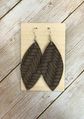 Deer Addie Handmade Leather Earrings - Mocha Basketweave
