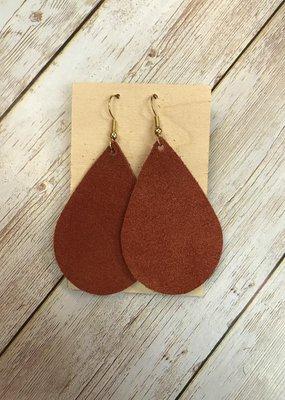 Deer Addie Handmade Leather Earring - Brick Suede
