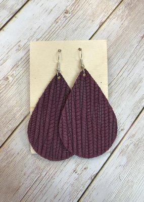 Deer Addie Handmade Leather Earrings - Wine