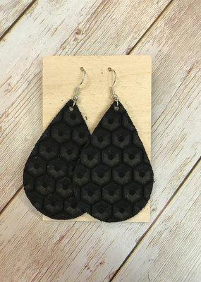 Deer Addie Handmade Leather Earrings - Black Honeycomb