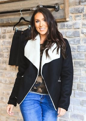 Lucky & Blessed Black Faux Fur Lined Jacket