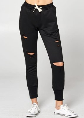 Vanilla Bay Black French Terry Distressed Sweatpants