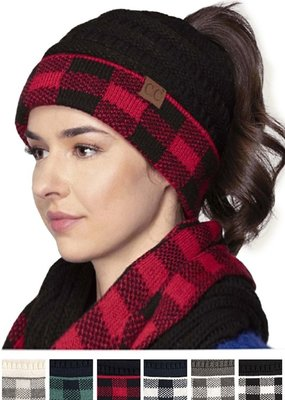 CC CC Plaid Messy Bun Beanie
