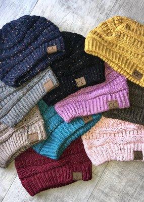 Hana CC  Cable Knit Confetti Beanie