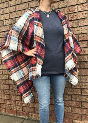 urbanista Plaid Hooded Blanket Poncho