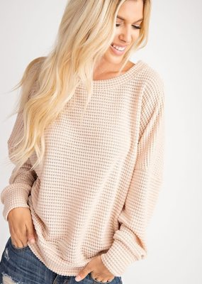 143  Story Cream Waffle Knit Top
