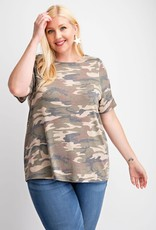 143  Story Camo Cut Out Short Sleeve Top