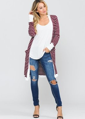 Cezanne Wine Stripe Cardigan