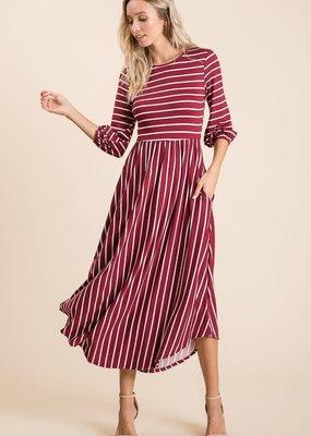 Reborn J Wine Striped Ankle Length Dress