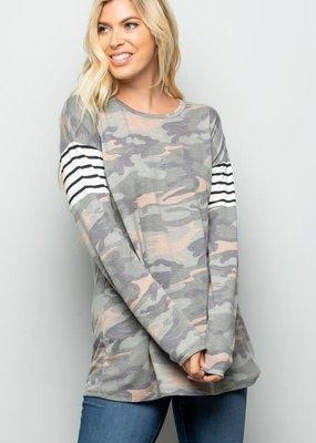 Heimish USA Camo Stripe Long Sleeve Top