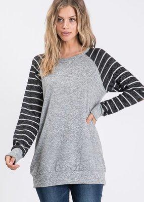 Heimish USA Grey and Black Stripe Raglan Top