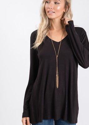 Heimish USA Basic Long Sleeve Solid Top - Black