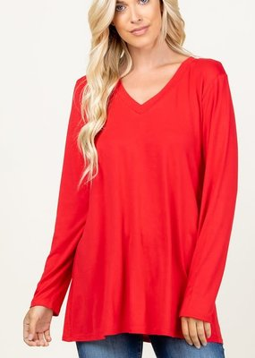 Heimish USA Basic Long Sleeve Solid Top - Red