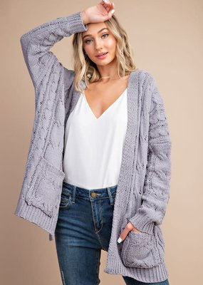 EESOME Grey Cable Knit Cardi