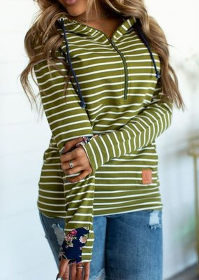 AMPERSAND AVE Green Stripe Floral Half-Zip Ampersand Ave