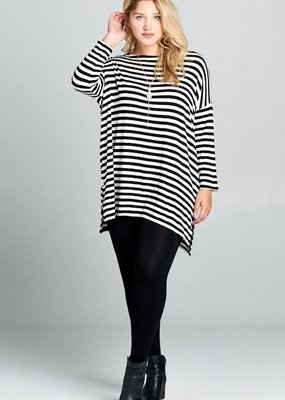 Emerald Black Stripe Oversized Tunic