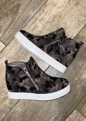 Bamboo Grey Camo Wedge Sneakers