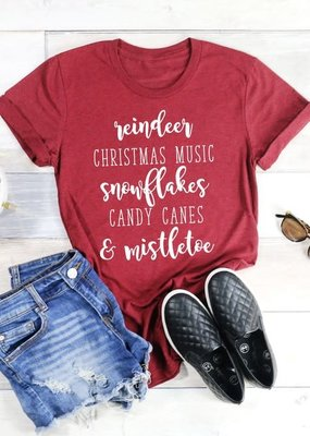 Kissed Apparel All Things Christmas Graphic Tee - Burgundy