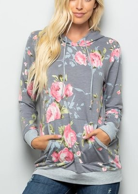Heimish USA Grey Floral Hoodie