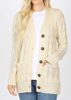 Cable Knit Cardigan - Ivory