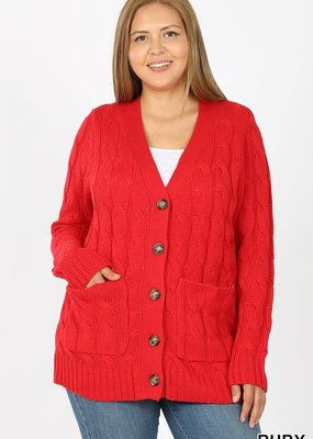 Cable Knit Cardigan - Ruby