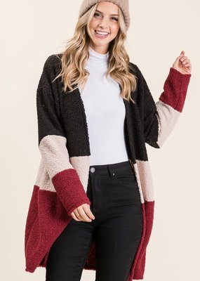 Color Block Open Front Cardi