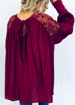 Burgundy Lace Tunic Tie Back Top