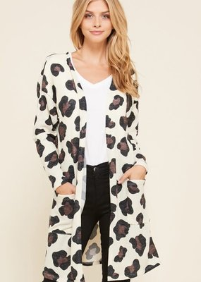 VIAMOR Leopard Cream Cardigan