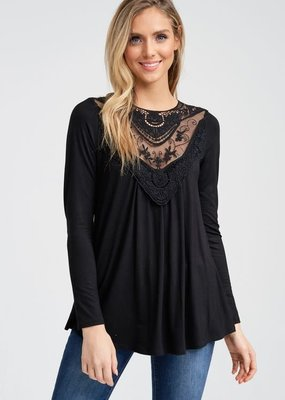 White Birch Black Long Sleeve Lace Top