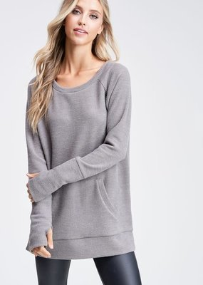 White Birch Olive Gray Knit Top with Front Pocket