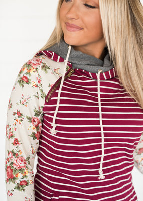 AMPERSAND AVE Maroon Stripe Cream Floral DoubleHood - Ampersand Ave