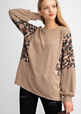 143  Story Leopard Brushed Balloon Sleeve Top