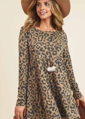 First Love Leopard Peplum Top - Brown
