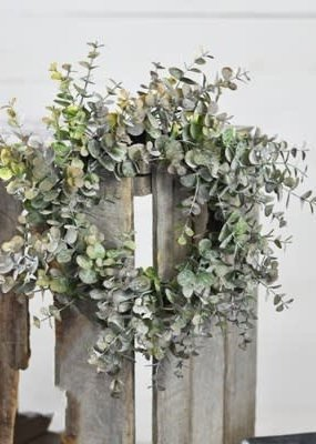 "Home & Garden 15"" Eucalyptus Gray/Purple Wreath"