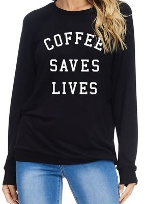 Fantastic Fawn Coffee Saves Lives Black Long Sleeve