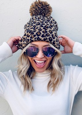 Olive & Pique Leopard Pom Pom Beanie (Pink or Brown)